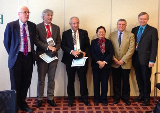In the picture are: Dr. FitzGerald, Chair GINA Board of Directors; Dr. Stelmach (September Awardee from Brazil); Dr. Tarraf (August awardee from Egypt); Dr. Lan (June awardee)